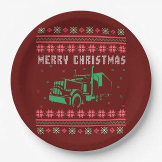 Prato De Papel Camisola feia do Natal do veículo com rodas grande