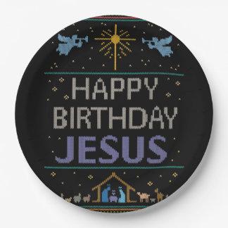 Prato De Papel Camisola feia do Natal - feliz aniversario Jesus