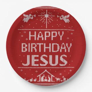 Prato De Papel Camisola feia do Natal - vermelho de Jesus do