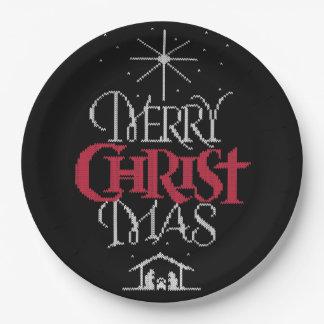 Prato De Papel Camisola feia religiosa do Feliz Natal da malha da
