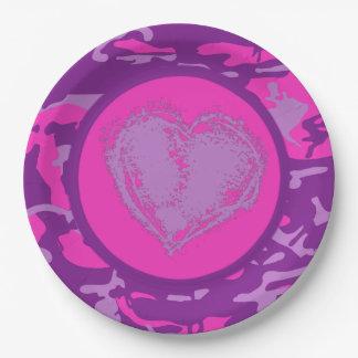 Prato De Papel Camo cor-de-rosa e roxo com coração