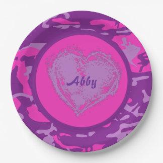 Prato De Papel Camo cor-de-rosa e roxo customizável com coração