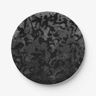 Prato De Papel Camuflagem cinzenta preta e escura de Camo moderno