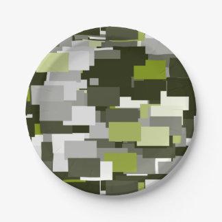 Prato De Papel Camuflagem urbana verde cinzenta