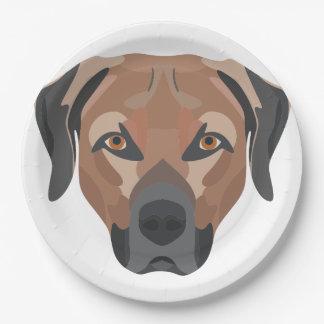 Prato De Papel Cão Brown Labrador da ilustração