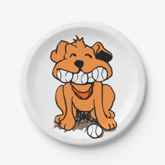 Prato De Papel Cão com as bolas na boca