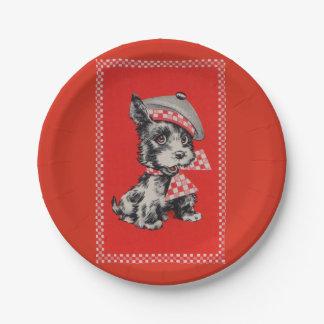 Prato De Papel cão do Scottie dos anos 50 no vermelho