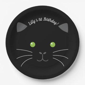 Prato De Papel Cara do gatinho