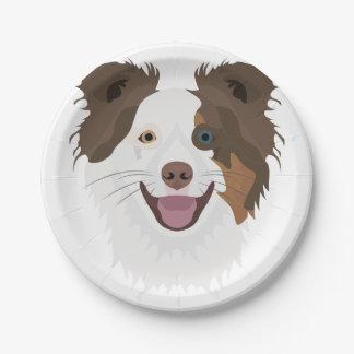 Prato De Papel Cara feliz border collie dos cães da ilustração