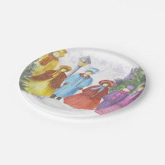 Prato De Papel Carolers coloridos do Natal