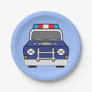 Prato De Papel Carro-patrulha azul corajoso da polícia