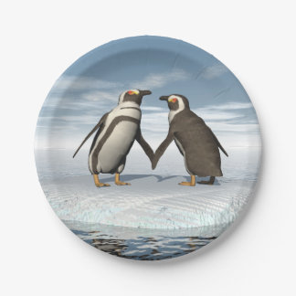Prato De Papel Casal dos pinguins