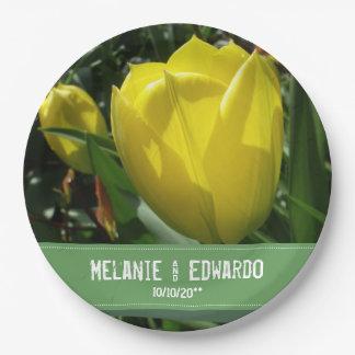 Prato De Papel Casamento amarelo da flor da tulipa