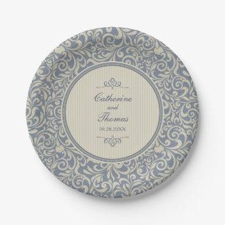 Prato De Papel Casamento barroco bege e azul elegante do teste