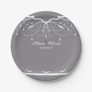 Prato De Papel Casamento cinzento do candelabro floral chique
