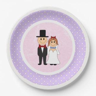 Prato De Papel Casamento cor-de-rosa & roxo dos noivos das