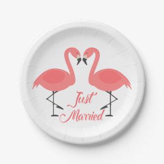 Prato De Papel Casamento cor-de-rosa tropical do recem casados do