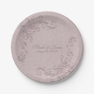 Prato De Papel Casamento de canto cor-de-rosa elegante do encanto