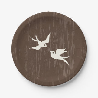 Prato De Papel Casamento de madeira de Brown das pombas dos