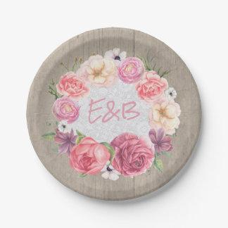 Prato De Papel Casamento de madeira rústico da grinalda floral