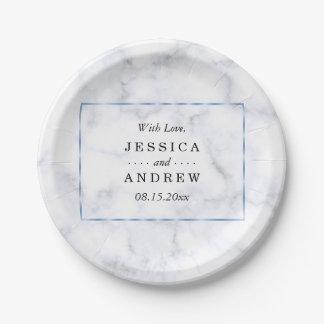 Prato De Papel Casamento de mármore azul romântico