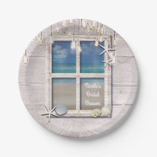 Prato De Papel Casamento elegante de madeira branco da janela