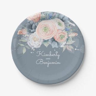 Prato De Papel Casamento elegante floral cor-de-rosa e azul