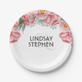 Prato De Papel Casamento elegante floral das peônias cor-de-rosa