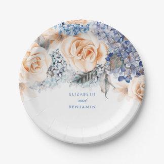 Prato De Papel Casamento elegante floral empoeirado do azul e do