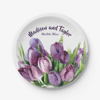 Prato De Papel Casamento floral/chá da aguarela das tulipas roxas