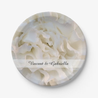 Prato De Papel Casamento floral do cravo branco