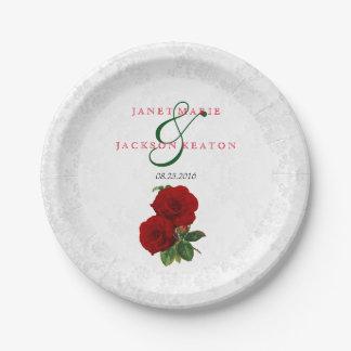 Prato De Papel Casamento floral do rosa vermelho escuro
