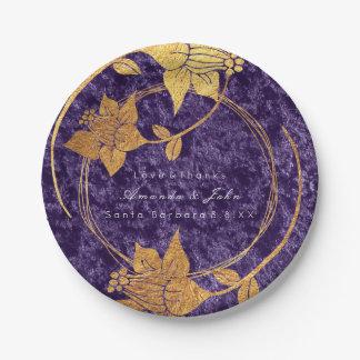 Prato De Papel Casamento floral violeta roxo da grinalda de