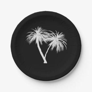Prato De Papel Casamento moderno das palmeiras tropicais pretas &