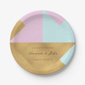 Prato De Papel Casamento nupcial Pastel do ouro cor-de-rosa do
