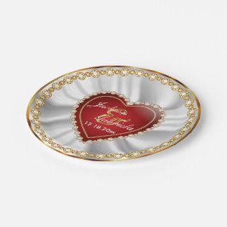 Prato De Papel Casamento ou aniversário de diamante do ouro, do