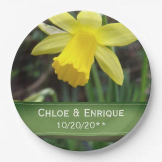 Prato De Papel Casamento personalizado do foco Daffodil macio