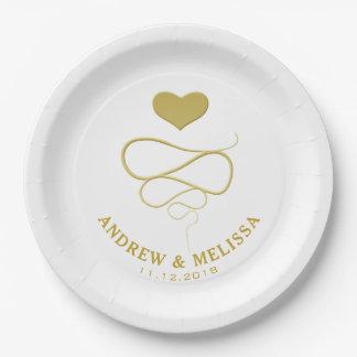 Prato De Papel Casamento personalizado | do ornamento do coração