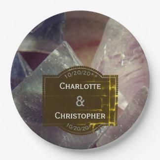Prato De Papel Casamento personalizado pedra preciosa da fluorite