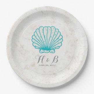 Prato De Papel Casamento rústico do Seashell de turquesa