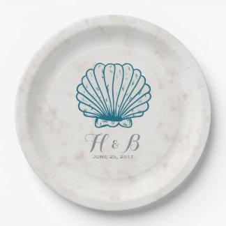 Prato De Papel Casamento rústico do Seashell dos azuis marinhos