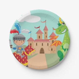 Prato De Papel Castelo e dragão pequenos do cavaleiro