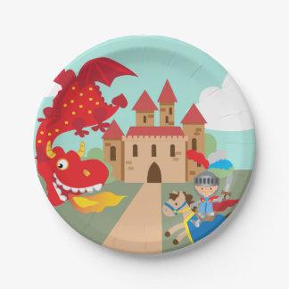 Prato De Papel Cavaleiro da equitação e dragão de vôo vermelho