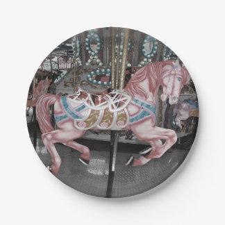 Prato De Papel Cavalo cor-de-rosa do carrossel
