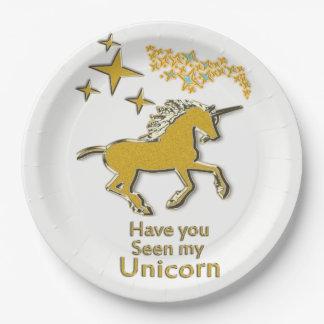 Prato De Papel Cavalo do pônei do unicórnio do ouro com estrelas