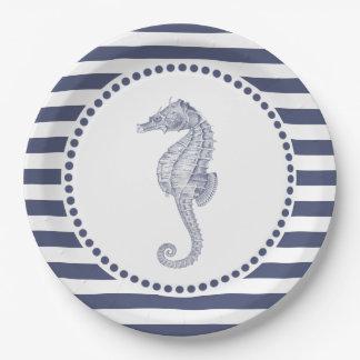 Prato De Papel Cavalo marinho náutico das listras de azuis