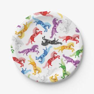Prato De Papel Cavalos de salto coloridos do teste padrão