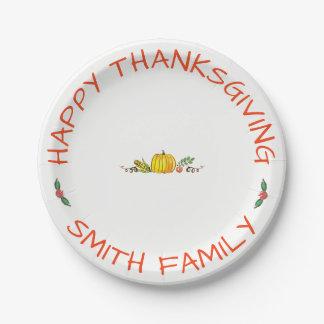 Prato De Papel Celebração de família feliz da acção de graças