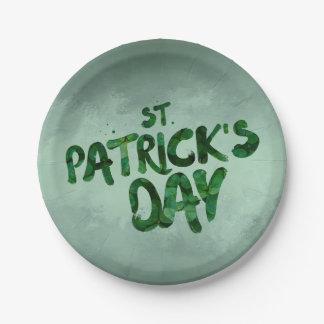 Prato De Papel Céltico verde do irlandês do trevo do Dia de São