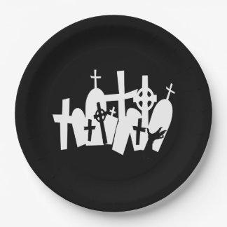 Prato De Papel Cemitério de coordenação o Dia das Bruxas do zombi